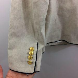 Ann Taylor Jackets & Coats - Ann Taylor Linen Blend Piped Beige Blazer Jacket